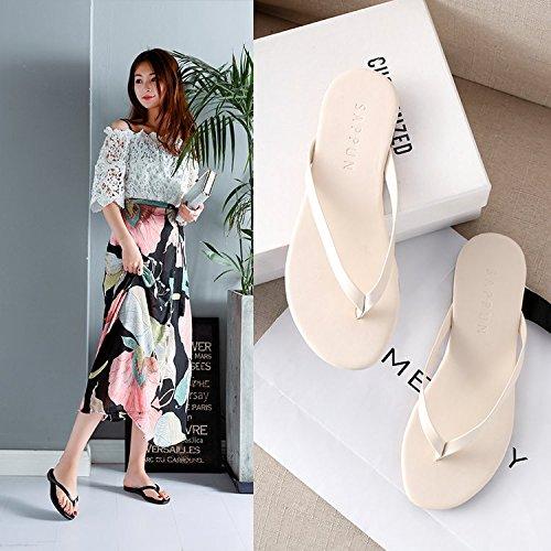 Qiqi Studenti Antiscivolo Flat Trascinare Girl Pantofole E Cool Parola La Clip Beach Wear Pin Fashion Beige Casual Xue dqgwv4xnd