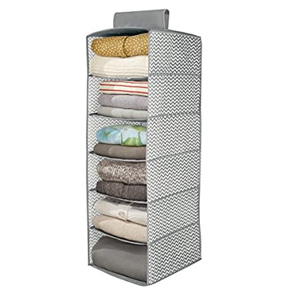 mDesign Organizador de ropa en tela – Estanteria colgante para organizar armarios – Cajas para guardar