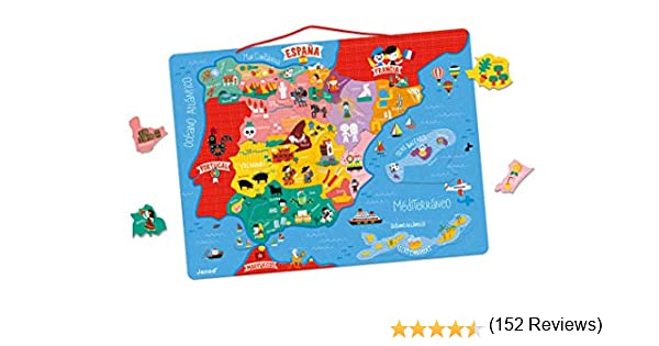 Janod- Mapa Magnético de España 50 Piezas, Multicolor, única (Juratoys J05478): Amazon.es: Juguetes y juegos