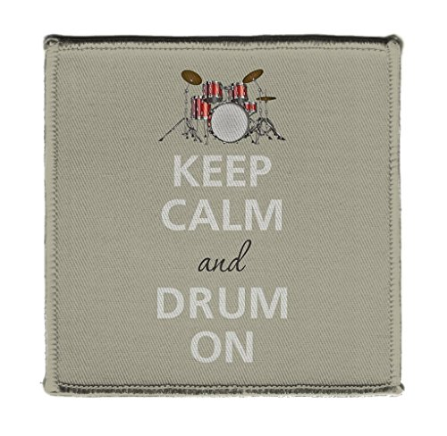 Keep Calm AND DRUM ON SNARE SET - Iron on 4x4 inch Embroidered Edge Patch ()