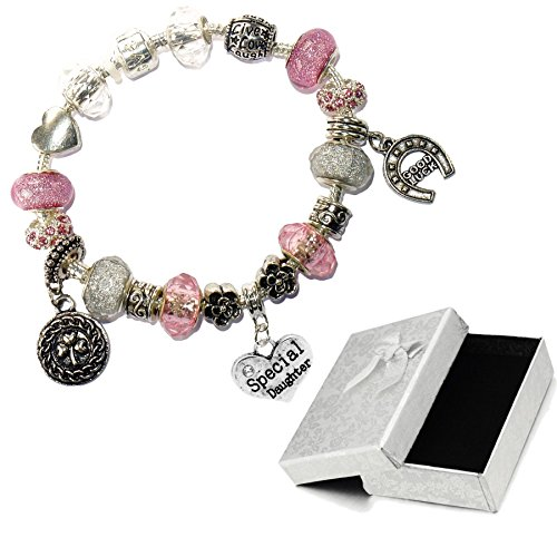 Charm Buddy Special Daughter Pink Silver Crystal Good Luck Pandora Style Bracelet With Charms Gift Box by Charm Buddy