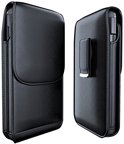 Meilib Samsung Galaxy S10 S9 S8 Holster, Cell Phone Belt Holster Case with Belt Clip Leather Pouch Cover for Samsung Galaxy S10 S8 S9 (NOT Plus) - Built in ID Card Holder (Fits Phone with Case on) ()