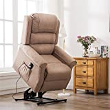 Irene House Modern Transitional Lift Chairs for Elderly Recliners with Soft Linen (Brushed ) Fabric(Light Brown)