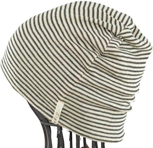 抗がん剤帽子/驚くほど柔らかな医療用帽子/ボーダーシャロット2枚セット/医療帽子 プレジール