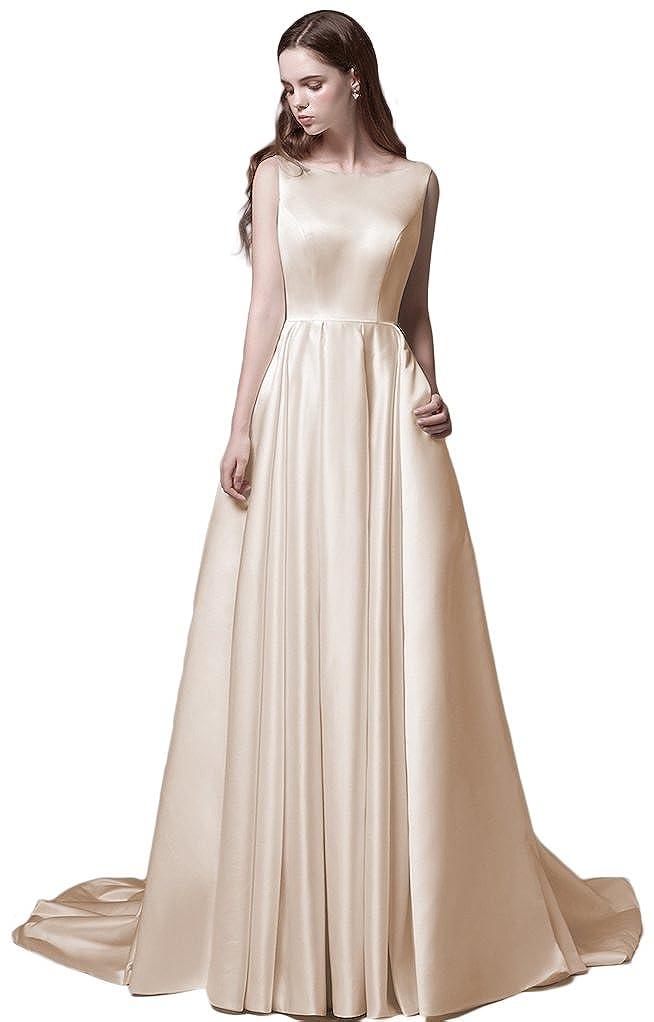Ruolai Womens A Line Backless Simple Wedding Dress With Pockets
