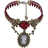 Eternity J. Vintage Princess Red Rose Lace Victorian Necklace Edwardian Vampire Gothic Choker Pendant