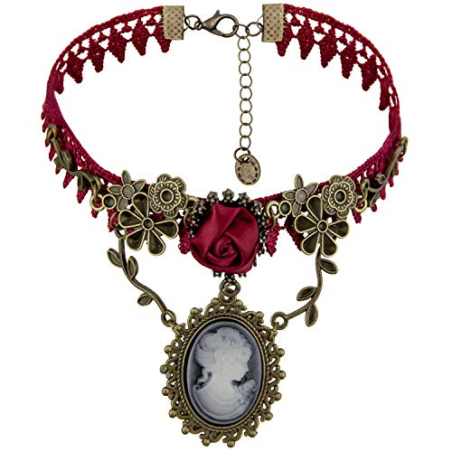 Eternity J. Vintage Princess Red Rose Lace Victorian Necklace Edwardian Vampire Gothic Choker Pendant