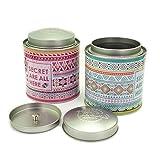 Leiqin Grid Pattern Metal Jar Bathroom Organizer Cosmetic Case for Cotton Swabs,Makeup Sponges, Bath Salt-2PCS