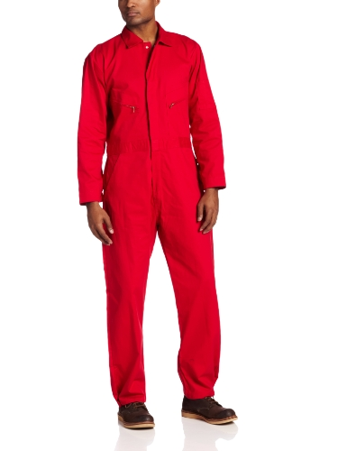 Red Coverall - Berne Men's Deluxe 8.2 Ounce Unlined Coverall, Red, 38 Regular