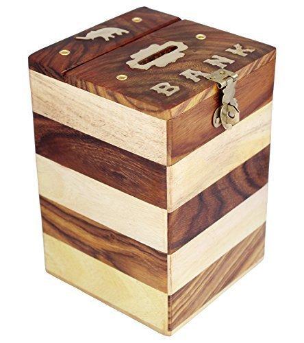 Wooden Money Bank Safe Kids Piggy Coin Holder Box Gifts ()