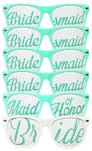 Bridal Bachelorette Wedding Party Sunglasses, Bride and Bridesmaid Party Favors, Selfie Kit with 6 Pairs of Themed Novelty Glasses for Memorable Photo Booth Fun or a Perfect Night Out (Green & White) (Novelties Party Bachelorette)
