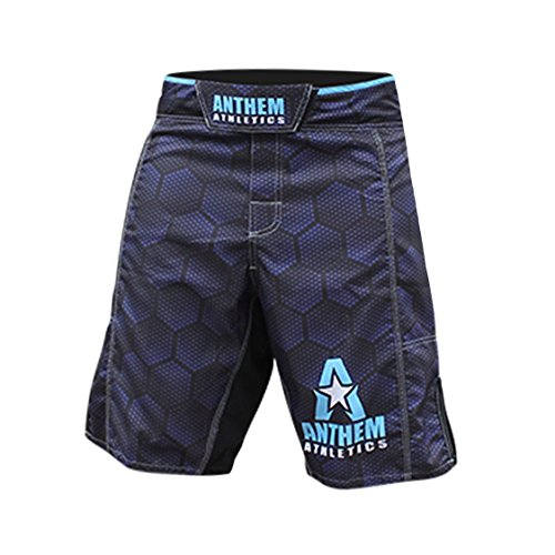 Anthem Athletics RESILIENCE Fight Shorts - Black Hex With Blue - 36""