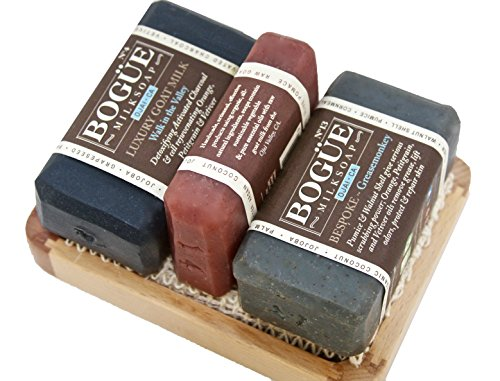 BOGUE Fathers Day Bearded Greasemonkey Giftset Goat Milk Soap- #14 Beard Wash, 13 Exfoliating Grease Monkey 3 Aggregates Remove Grease & Smells #4 Activated Charcoal Detox, Sisal Cloth & Tray