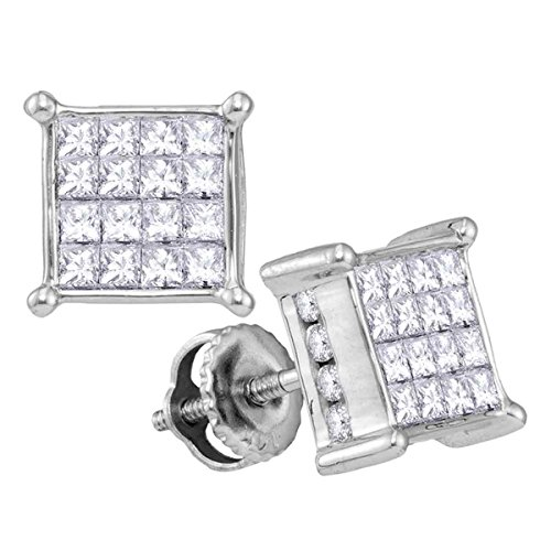 14kt White Gold Womens Princess Diamond Cluster Stud Earrings 1.00 Cttw (I2 clarity; I-J color) 14kt Gold Birthstone Cluster Earrings