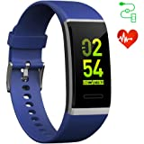 EFOSHM スマートウォッチ血圧 活動量計 リストバンド 心拍計 腕時計 歩数計 睡眠検測 電話 着信通知 iPhone Android 日本語対応 青
