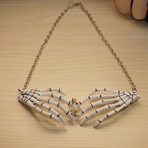 (Cool Resin Pair Skeleton Hands Bib Necklace,Skeleton Bone Hands Skull Necklace Jewelry,Gothic Skull Skeleton Collar Choker Necklace (White))