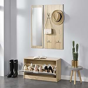 [en.casa]®] Conjunto de Muebles para Pasillo, vestíbulo - Zapatero Espejo Perchero de Pared Color de Madera/Blanco