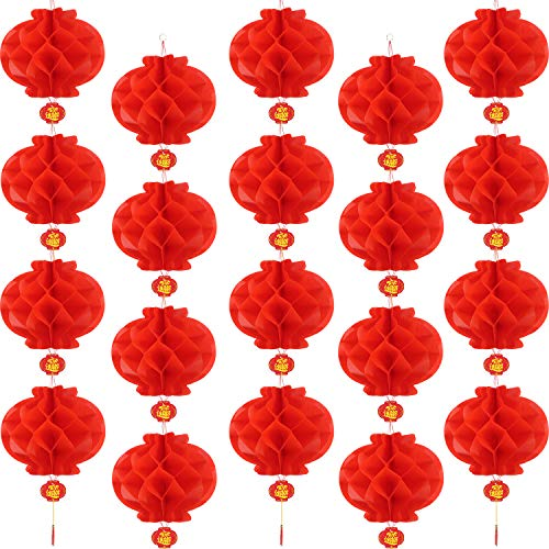 Bememo 20 Pieces Chinese New Year Red Paper Lanterns Thickened Encryption Chinese Hang Lantern Decorations (8 Inch) -