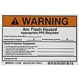 Brady 121099 Vinyl Preprinted Arc Flash Labels,  Black and Orange on White, 4