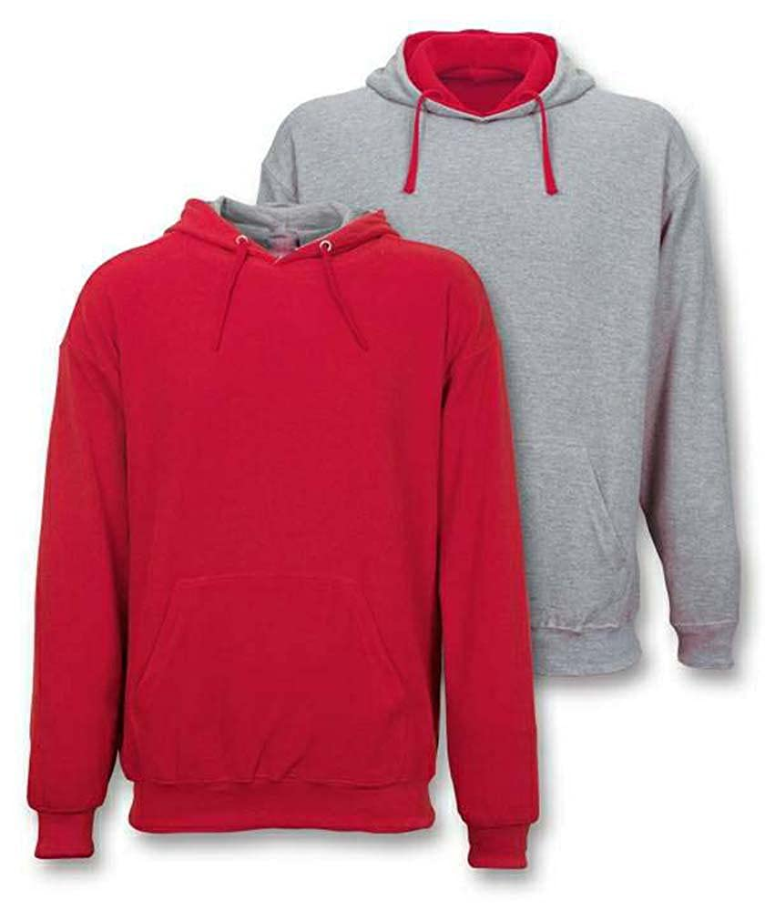 Hoodies reversible fleece knit sporty grey melange and combination two in one
