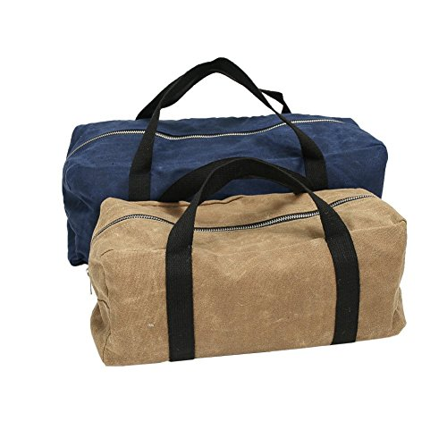 2 Packs Waxed Canvas Tool Bag Utility 15 Inch Wide Mouth Storage Tote Bag With Carry ()