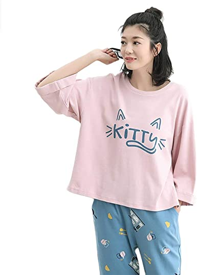 Mujer Algodon Pijamas Mujer Cute Cartoon Patrón Conjunto De Pijama Impresión Primavera Otoño Elegantes Fashionista Manga Larga Cuello Redondo Pijama Ropa De Dormir Pantalones De Pijama: Amazon.es: Ropa y accesorios