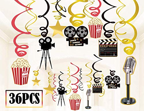 36Ct Movie Night Party Decorations Hanging Swirls -