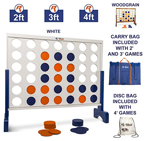 Giant 4 in A Row, 4 to Score - Premium Wooden Four Connect Game Set in 4' White Wood by Rally & Roar - Oversized Family Outdoor Party Games for Backyard, Lawn, Parties, Bar Game ()