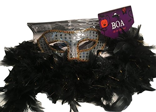 Silver Sequin Dress Costume Ideas (Novelty Party Mask With Sequins, Black and Gold Feather Boa; Halloween, Mardi Gras, Masquerade Ball, etc.; 2-pc (Silver))