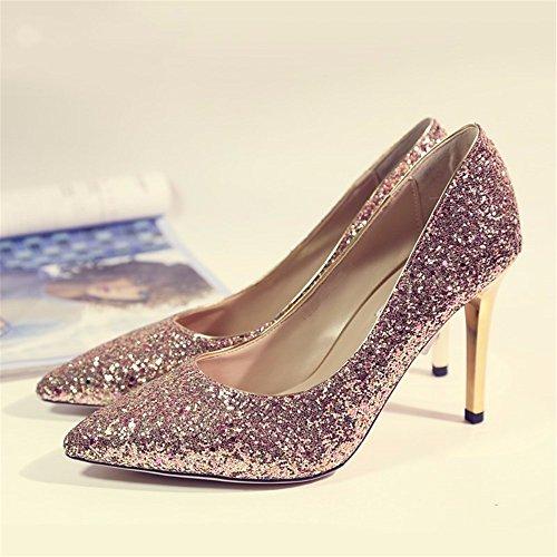HXVU56546 Cristal Degradado Nuevo Señoras Tacones Lentejuelas Fina Con Parte De Moda Zapatos 39 Rosa De Oro