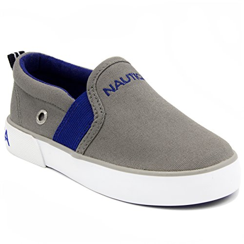 Nautica Fairwater Toddler Canvas Sneaker Slip-On Casual Shoes-Wild Grey-11 by Nautica