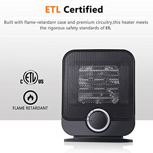... Personal Space Heater, SUNPOLLO Portable Electric Ceramic Heater, Small  Table Space Heater Fan With ...