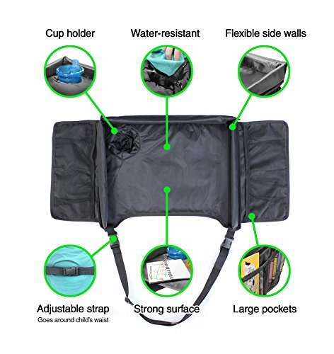 VViViD Kid's Snack & Play Travel Tray - Easy to Clean Black Nylon, Reinforced Sides, Cup Holder, Safety Straps & Mesh Pockets. Great for Car Trips, Plane Trips & More! by VViViD (Image #3)
