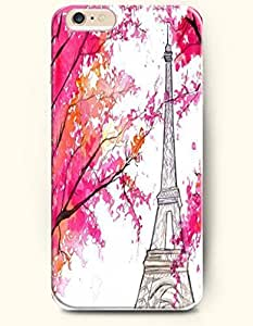 SevenArc Hard Phone Case for Apple iPhone 6 Plus ( iPhone 6 + )( 5.5 inches) - Red Leaves And Eiffel - Oil Painting...