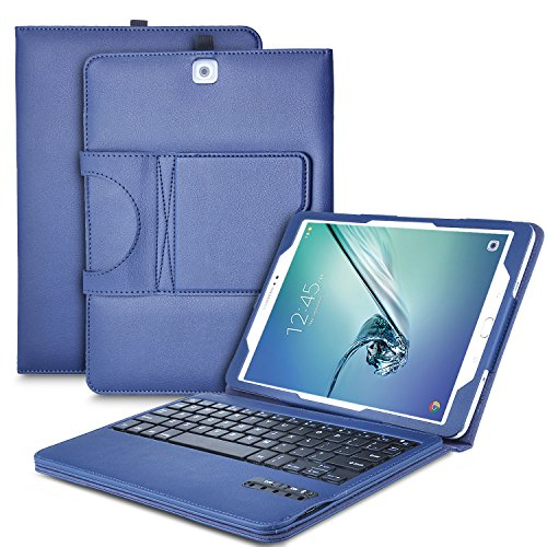 IVSO Keyboard case for Samsung Galaxy Tab S2 9.7 - Ultra-Thin Detachable Wireless Keyboard Stand Case/Cover for Samsung Galaxy Tab S2 9.7 Tablet -with Free Stylus Pen (Blue)