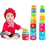Seguryy Figures Letters Folding Cup Tower,Baby Fun Educational Toy Children Kids Basics Stacking and Nesting Piling Cups Pagoda Number Letter Learning Toy (A1)
