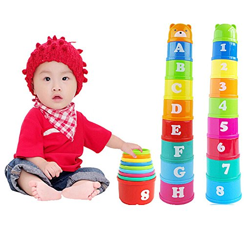 Stacking Cups,1 Set YUIOP Educational Rainbow Nesting Cups Toddler Numbers Building Joy Cups Set Baby Fun Bathtub Creative Toys with Numbers Multiple Colors Mini Folding Pagoda Early Development Toys