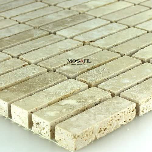 Travertin Mosaik Fliesen Beige Geschliffen Gespachtelt