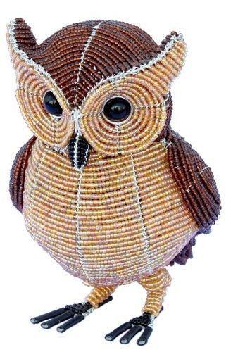 Grass Beadworx (Grass Roots Creations Horned Owl Beadworx Sculpture, Brown)