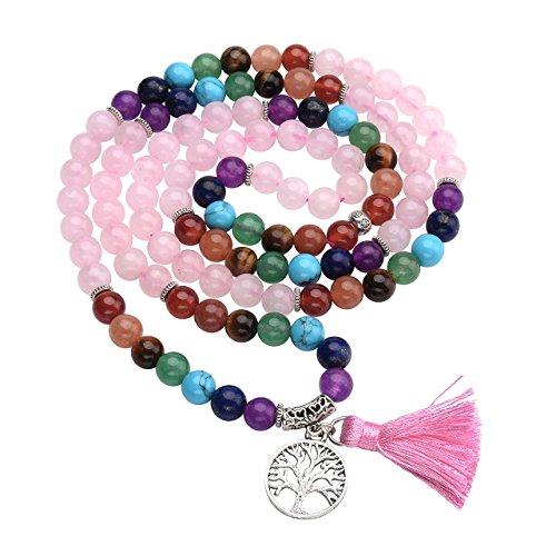 Top Plaza 7 Chakra Buddha Mala Prayer Beads 108 Meditation Healing Multilayer Bracelet/Necklace W/Tree of Life Tassel Charm, Rose Quartz