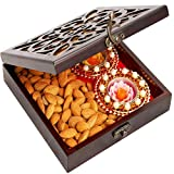 Ghasitaram Gifts Diwali Gifts Diwali Hamper- Lazer Wooden Jewellery Almond and 2 T-lites Box