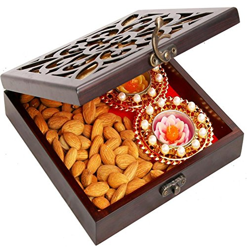 Ghasitaram Gifts Diwali Gifts Diwali Hamper- Lazer Wooden Jewellery Almond and 2 T-lites Box by Ghasitaram Gifts