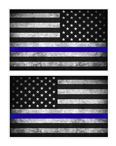 Thin Blue Line Flag Decals - 3x5 in. Black, White, and Blue Vintage American Flag Stickers for Cars, Trucks - In Support of Police and Law Enforcement Officers (2-pack)