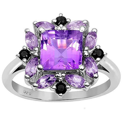2.60 Ct Purple Square Cut Amethyst And Sapphire 925 Sterling Silver Wedding Ring For Women: Nickel Free Beautiful And Simple Anniversary Gift For Wife: Birthstone Month-February: Ring Size-5