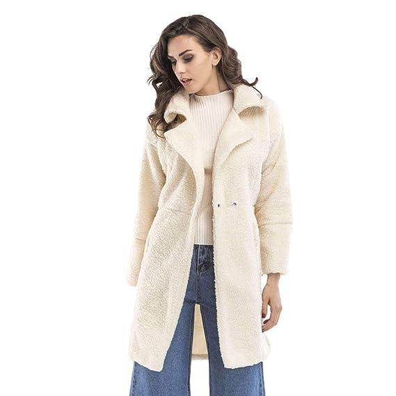Huixin Femme Trench Hiver Warm Coupe Vent Manches Longues Revers Young  Styles Uni Manche Bouton avec Poches Cardigan Élégant Bouffant Outwear   Amazon.fr  ... f2f40b81484d
