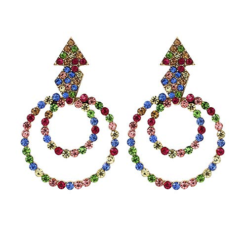 Sanvaree Statement Drop Earrings Gorgeous Colorful Crystal Gold Geometric-Shaped Dangle Earrings for Women Girls (Double Circular Diamond) ()