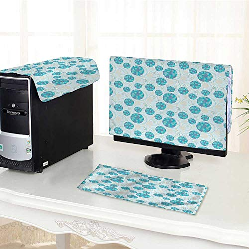 Auraisehome Desktop Computer Cover 3 Pieces Decor Ornate Balls with Colored Spots Party Fun Rippling Structural Hoops Blue Purple Scratch Resistance /30