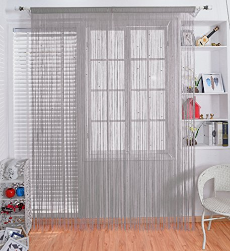 Taiyuhomes Beaded String Curtains with Pearl Beads Dense Fringe Beaded Door Tassel Curtains (39x79,Grey) (Doors Beaded)