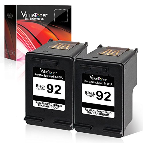 (Valuetoner Remanufactured Ink Cartridge Replacement for HP 92 C9512FN C9362WN Compatible with Deskjet 5440 Photo, PSC 1510 1510xi 1507, Photosmart 7850 C3135 Printer (Black, 2 Pack))