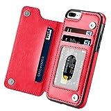 iPhone 7 Plus Case, Hoofur Slim Fit Premium Leather iPhone 7 Plus Wallet Casae Card Slots Shockproof Folio Flip Protective Defender Shell for Apple iPhone 7 Plus (5.5 Inch) (Red)